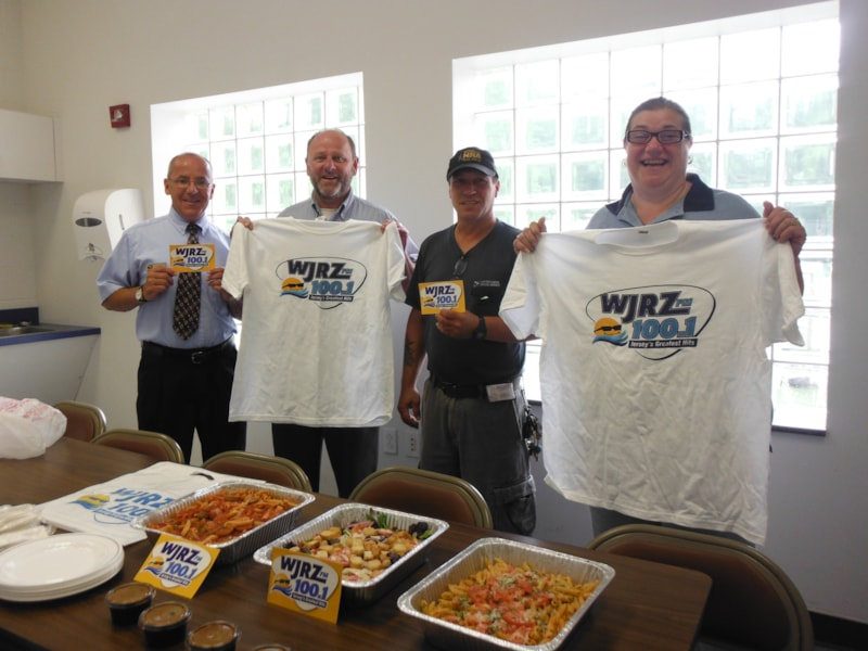 Richard Goldenbaum and staff from the U.S. Postal Service in Bayville enjoy FREE Lunch from Bum Rogers Crabhouse