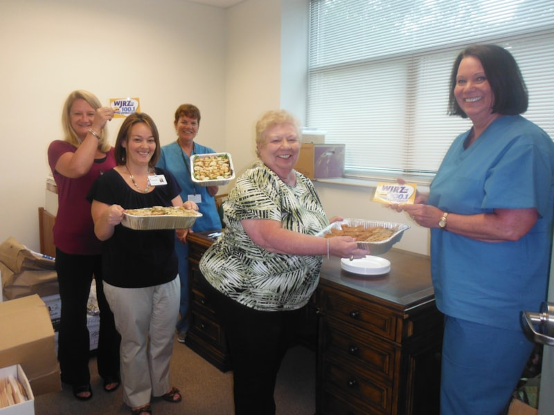 Rose Ann Castellano and the girls from Toms River Surgery Center enjoy FREE Lunch from Bum Rogers Crabhouse