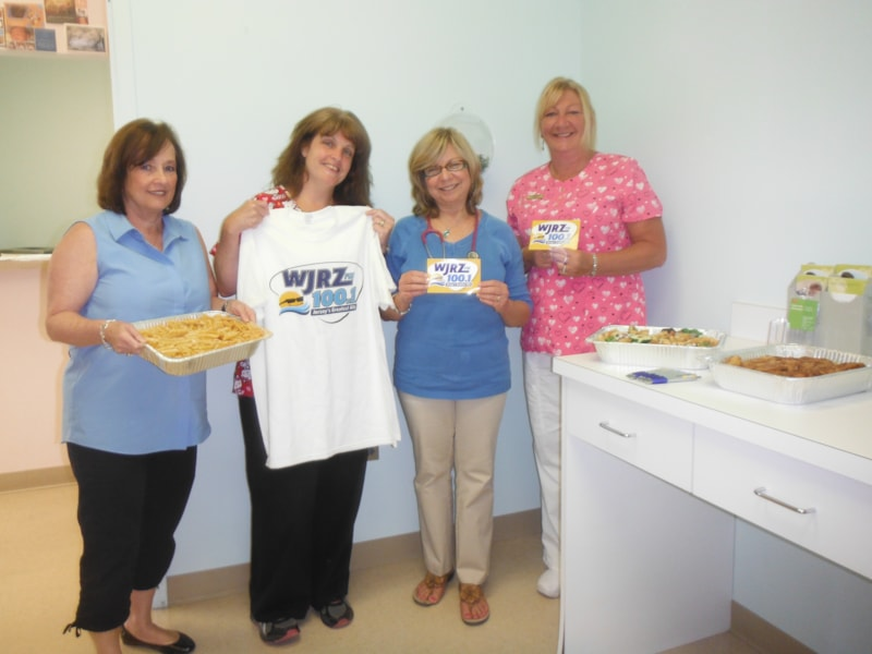 Susan Gusondi and the girls from Shore Touch Pediatrics, LLC in Toms River enjoy FREE Lunch from Bum Rogers Crabhouse