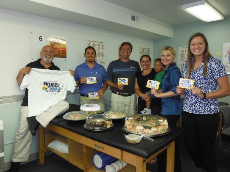 Timothy Gallagher and crew from NovaCare in Manahawkin enjoy FREE Lunch from Mulberry Street