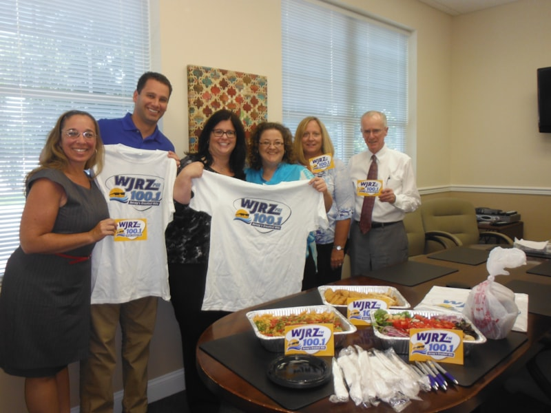 Carrie Bloodgood and staff from Davison, Eastman & Munoz, P.A. in Toms River enjoy FREE Lunch from Bum Rogers Crabhouse