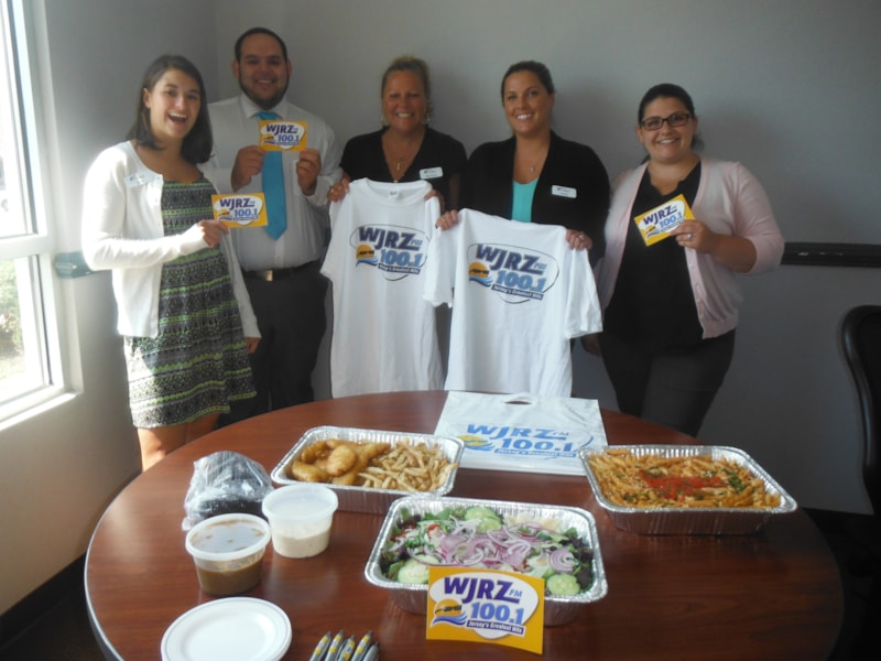 Holly Ulmer and the gang from First Atlantic Federal Credit Union in South Toms River enjoy FREE Lunch from Bum Rogers Crabhouse