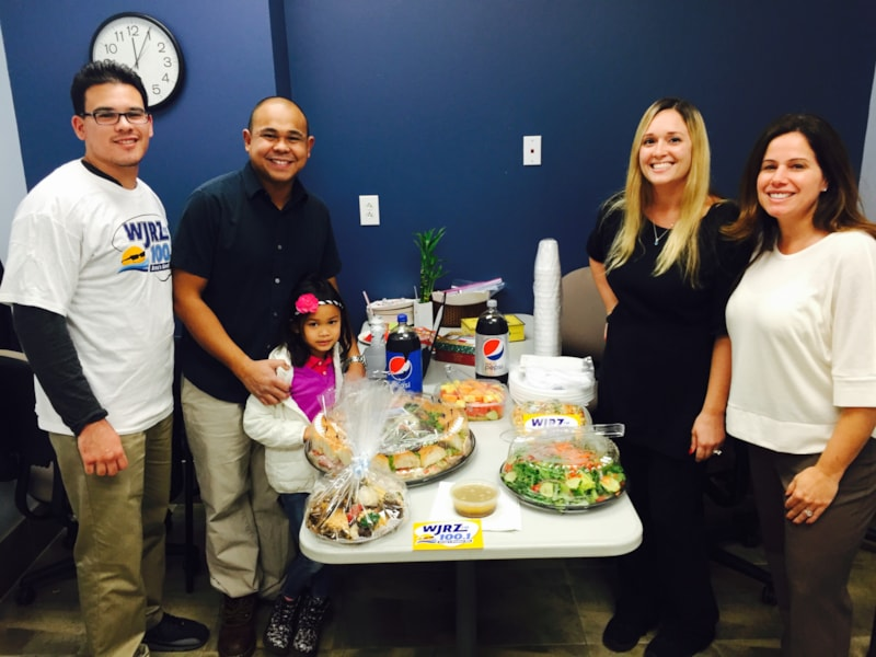 Travis Escalante and staff from Sportscare Physical Therapy in Brick enjoy FREE Lunch from Mulberry Street