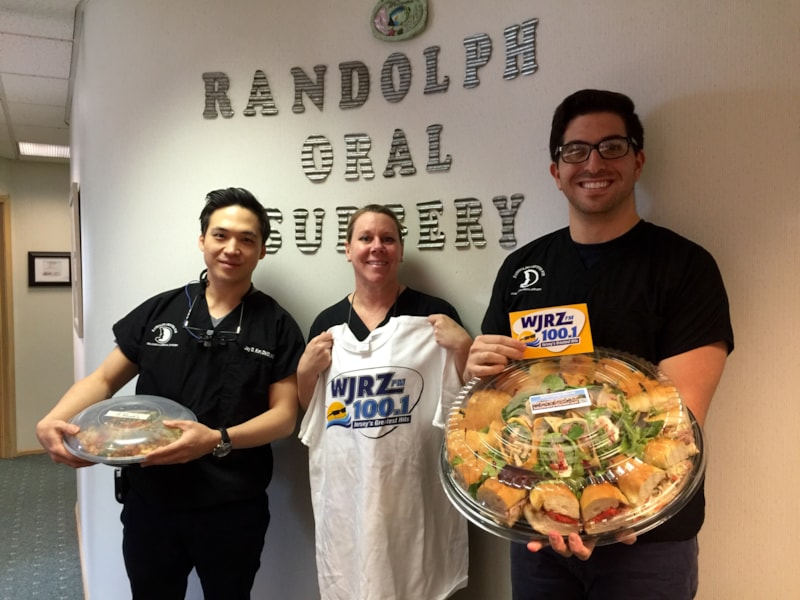 Claudia Baron and staff from Randolph Center for Oral Surgery in Brick enjoy FREE Lunch from Mulberry Street