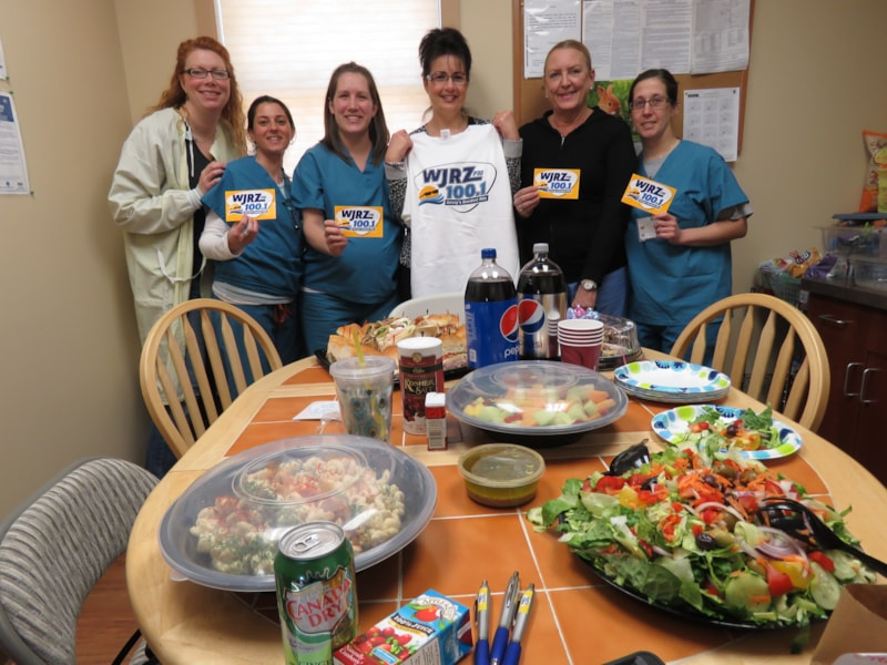 Michele DeMola and the girls from Coastal Endoscopy Center in Barnegat enjoy FREE Lunch from Mulberry Street