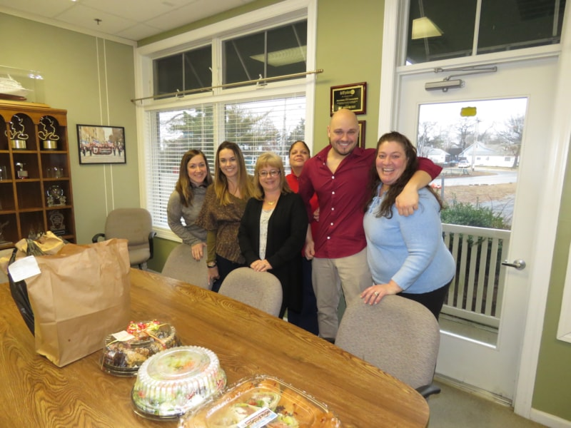 Samantha Gawronski and crew from Performing Arts Consultants in Brick enjoy FREE Lunch from Mulberry Street