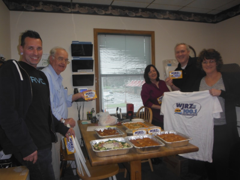 Jennifer Fraser and staff from Ronald W. Post Surveying, Inc. in Toms River enjoy FREE Lunch from Bum Rogers Crabhouse