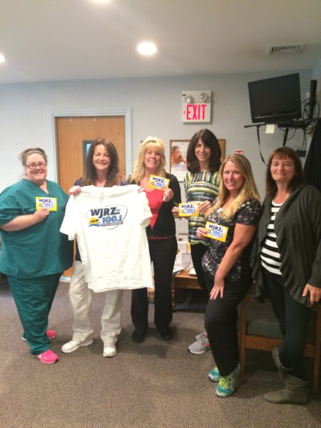 Marybeth Lacicero and crew from Shore Cardiac Institute in Toms River enjoy FREE Lunch from Bum Rogers Crabhouse