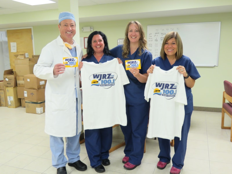 Nancy Curtis and staff from Bey Lea Surgery Center in Toms River enjoy FREE Lunch from Bum Rogers Crabhouse
