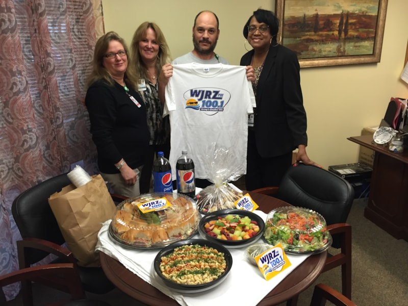Shawn Gallegan and staff from Laurelton Village Care Center in Brick enjoy Free Lunch from Mulberry Street