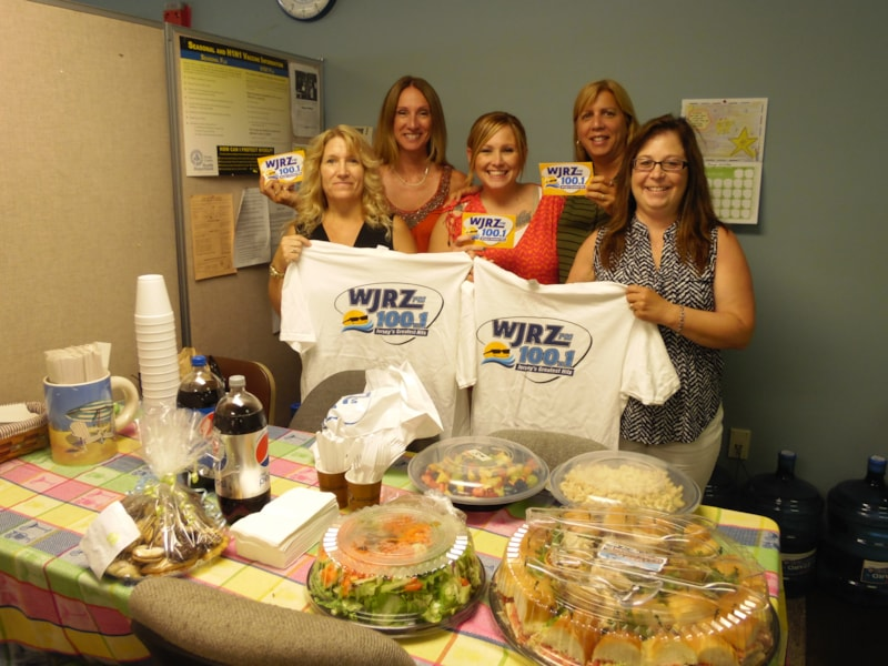Grace Kaleta and the girls from the Ocean County Adjuster's office in Brick enjoy FREE Lunch from Mulberry Street