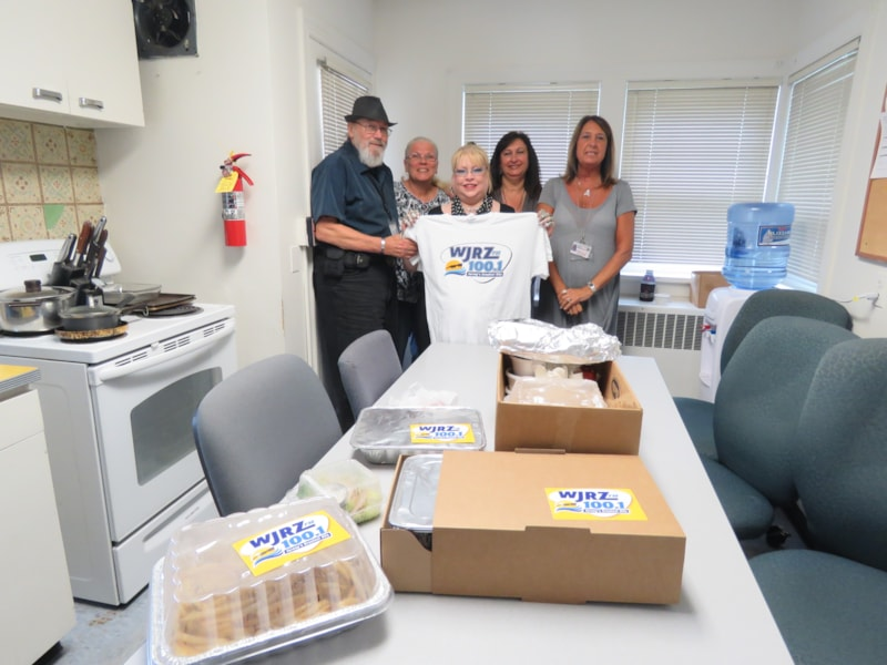 Renee Simoons-Van Der Wal and crew from Ocean County Sheriff's Field Services enjoy FREE Lunch from Bum Rogers Crabhouse