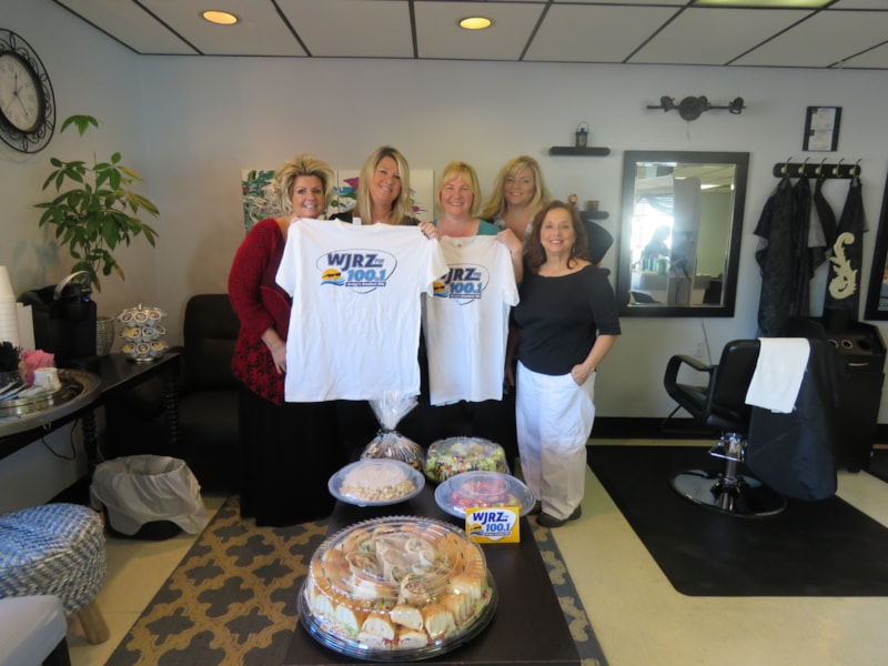 Kellie Hughes and the girls from Advance Hair Designs in Point Pleasant Beach enjoy FREE Lunch from Mulberry Street