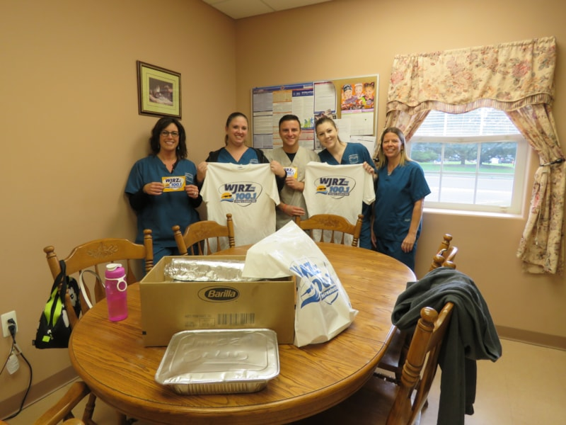 Laura Lobaito and staff from Calling All Creatures Veterinary Hospital in Toms River enjoy FREE Lunch from Bum Rogers Crabhouse