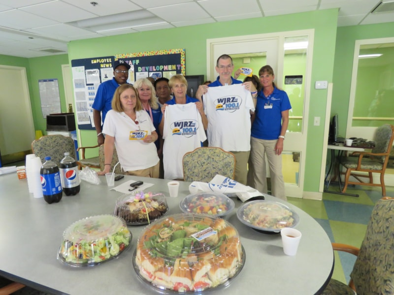 Pat Wills and staff from Meridian Nursing & Rehab at Brick enjoy FREE Lunch from Mulberry Street