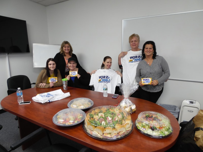 Diane DiDonato and the girls from John B. Wright Insurance in Manasquan enjoy FREE Lunch from Mulberry Street