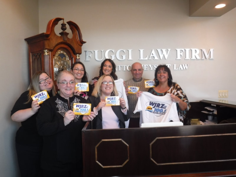 Gina Magee and staff from Fuggi Law Firm in Toms River enjoy FREE Lunch from Bum Rogers Crabhouse