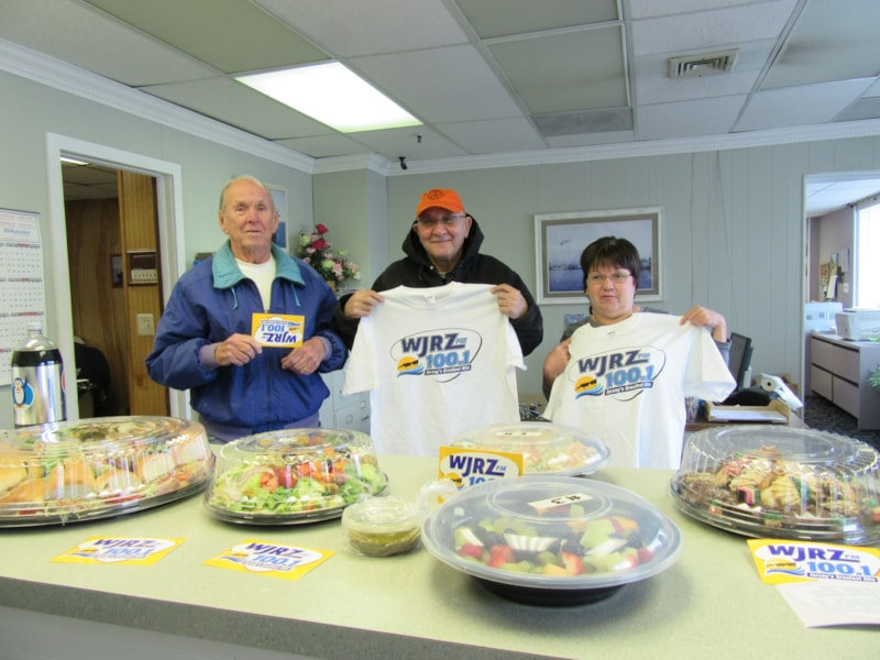Stacy Patella and the guys from General Paper and Linen Supply in Pt. Pleasant enjoy FREE Lunch from Mulberry Street
