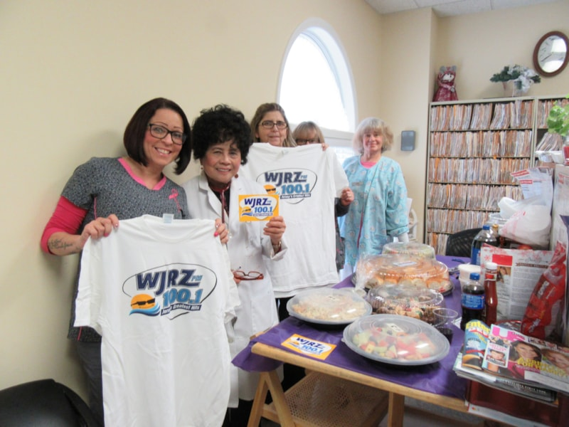 Cookie Pelican and staff from Lacey Medical Group enjoy FREE Lunch from Mulberry Street