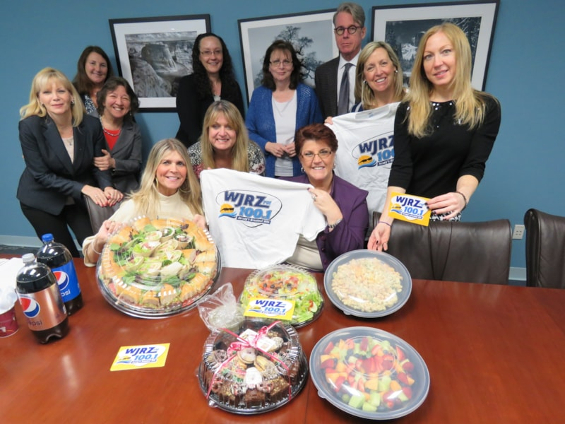 Michele McCole and staff from Maggs & McDermott, LLC in Wall enjoy FREE Lunch from Mulberry Street