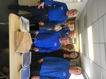 Michelle Denlea and crew from Toms River Heating and Air enjoy FREE Lunch from Bum Rogers Crabhouse