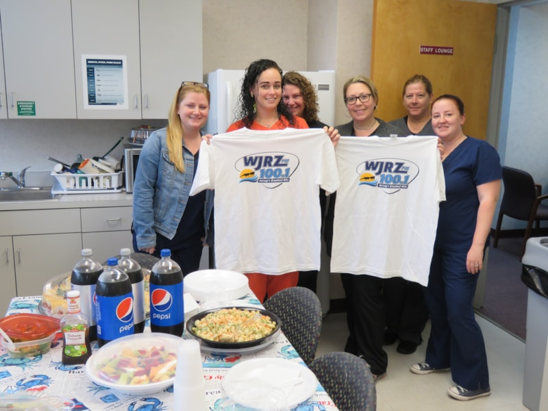 Alyse Groomes and the girls from Atlantic Coast Gastroenterology in Brick enjoy FREE Lunch from Mulberry Street
