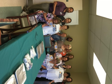 Donna Schwartzman and staff from Holiday Care Center in Toms River enjoy FREE Lunch from Bum Rogers Crabhouse