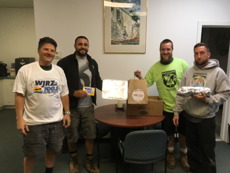 Gary Yedman and crew from Hydroscience, Inc. in Toms River enjoy FREE Lunch from Bum Rogers Crabhouse