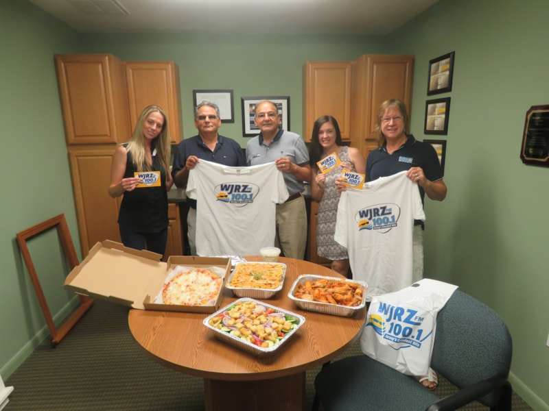 Linda Wolverton and staff from Toms River Door and Window enjoy FREE Lunch from Bum Rogers Crabhouse