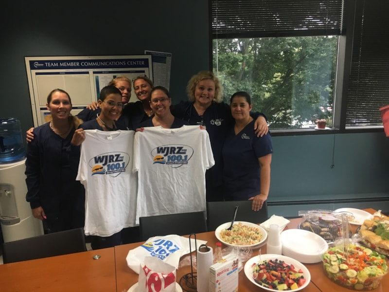 Kelly Behr and staff from Brick Ear, Throat and Facial Plastics enjoy FREE Lunch from Mulberry Street