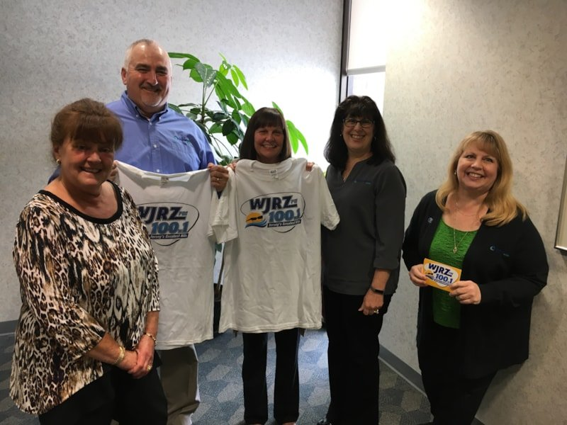Susan Nordyk and staff from Ocean First Bank in Toms River enjoy FREE Lunch from Bum Rogers Crabhouse