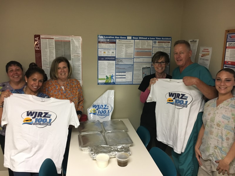 James Loftus and staff from Ocean Endosurgery Center in Toms River enjoy FREE Lunch from Bum Rogers Crabhouse