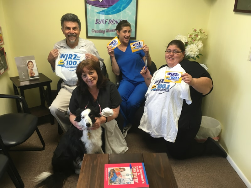 Michelle Corbett and staff from the office of Dr. Nugiel DMD, Surf Dental in Toms River enjoy FREE Lunch from Bum Rogers Crabhouse