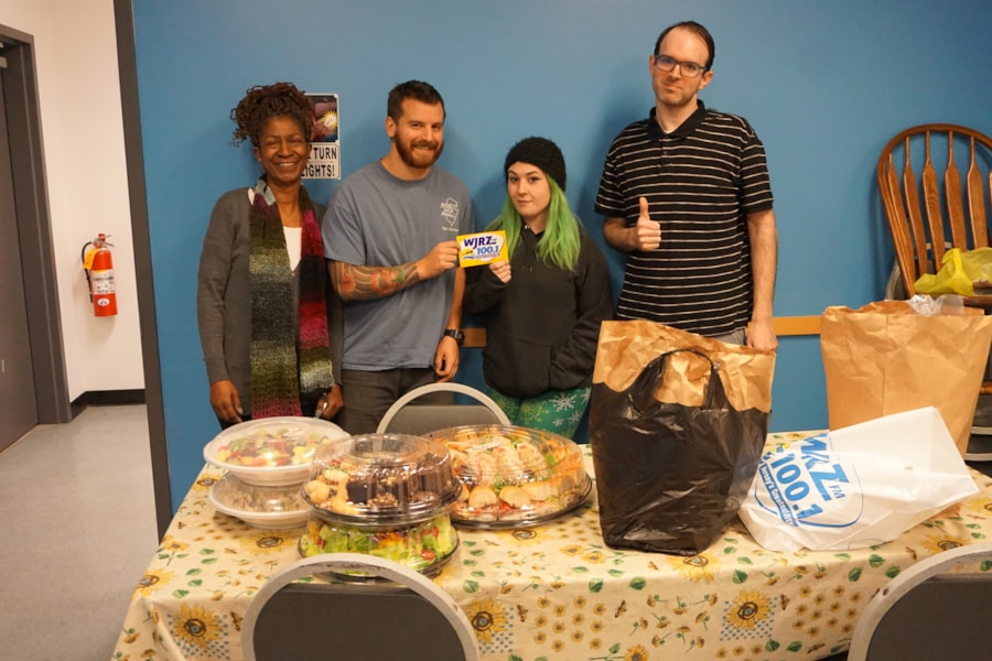 Kimberly Fink and staff from Jersey Jack Pinball in Lakewood enjoy FREE Lunch from Mulberry Street