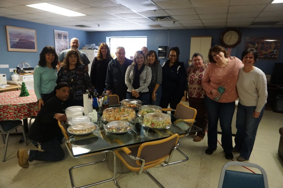 Sheila Paoloni and the gang from Town & Country Linen Corp. in Lakewood enjoy FREE Lunch from Mulberry Street