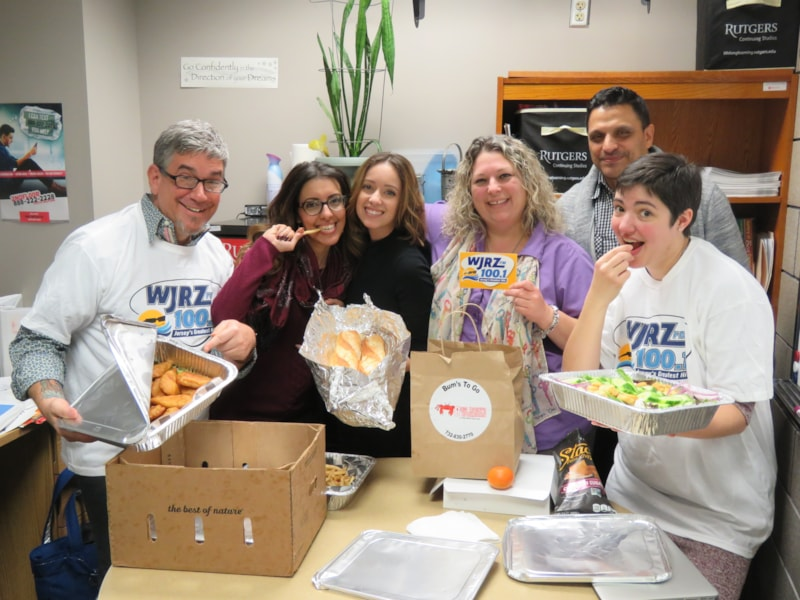 Gina Opauski and the gang from Rutgers TEEM Gateway Ocean County College in Toms River enjoy FREE Lunch from Bum Rogers Crabhouse