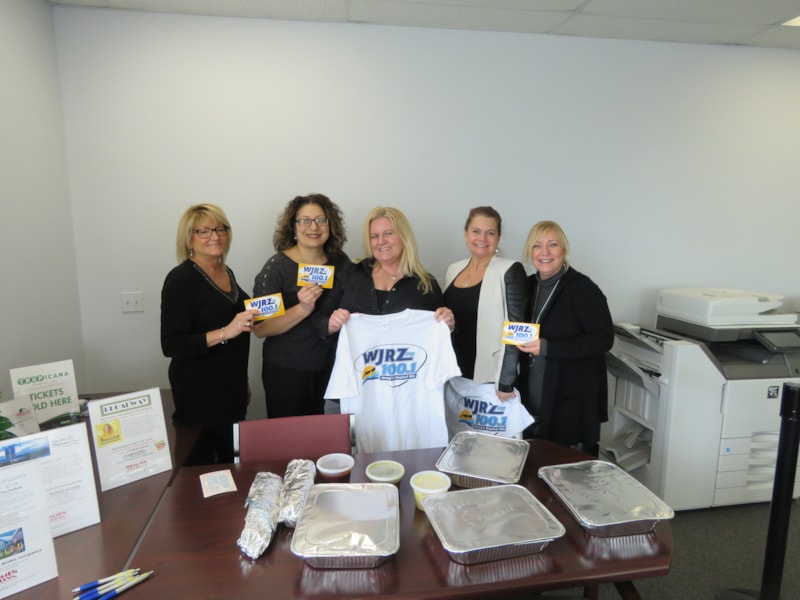 Amy Onofrietti and the girls from Stout's Transportation in Lakehurst enjoy FREE Lunch from Bum Rogers Crabhouse
