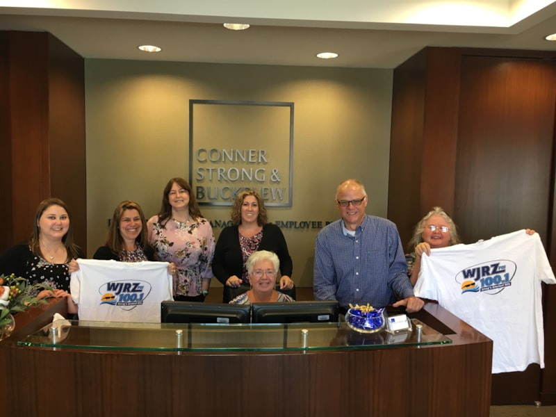 Laurie Kurtz and staff from Conner Strong & Buckelew in Toms River enjoy FREE Lunch from Bum Rogers Crabhouse