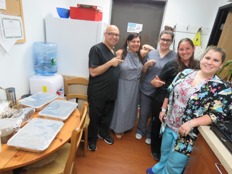 Jaime Coccaro and staff from Precision Pain Management in Toms River enjoy FREE Lunch from Bum Rogers Crabhouse