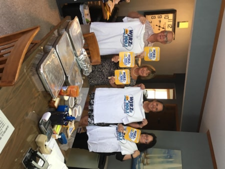 Dierdra Blum and staff from Shearer Law Firm in Beachwood enjoy FREE Lunch from Bum Rogers Crabhouse
