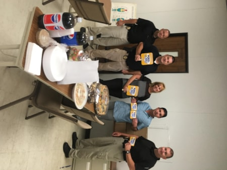 Erin Mulrane and the Brick Police Department enjoy FREE Lunch from Mulberry Street