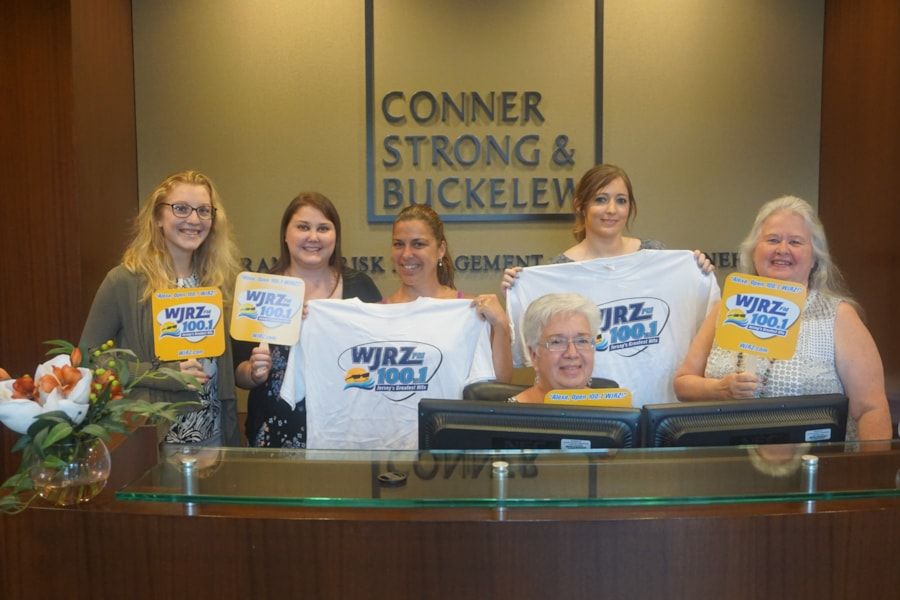 Laurie Kurtz and the girls from Conner Strong & Buckelew in Toms River enjoy FREE Lunch from Bum Rogers Crabhouse