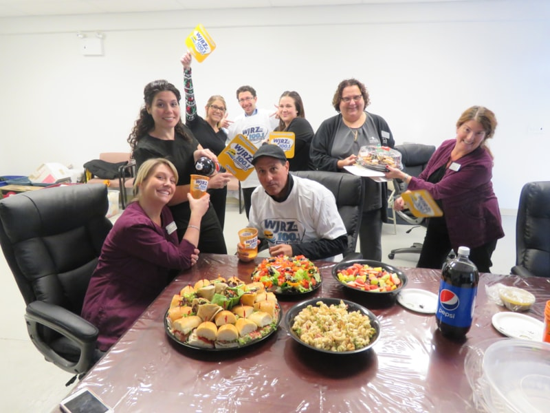 Karen Brower and staff from DeMarco Family Dental in Tuckerton enjoy FREE Lunch from Mulberry Street
