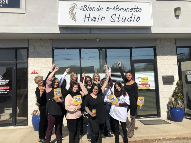 The crew from The Blonde &  The Brunette Hair Studio in Brick enjoy FREE Lunch from Mulberry Street